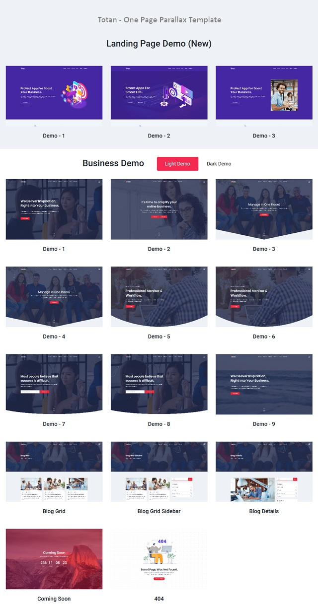 Multipurpose Responsive One Page Template