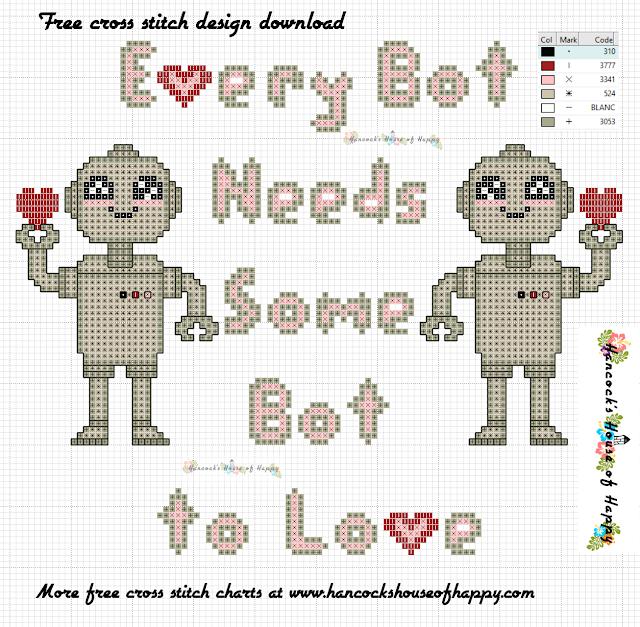 Kawaii Robot Cross Stitch Pattern Free to Download