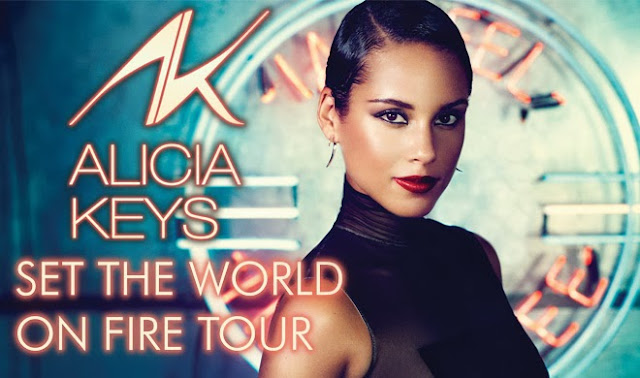 A poster for the Alicia Keys Set The World On Fire Tour Live In Malaysia Concert Coming this November