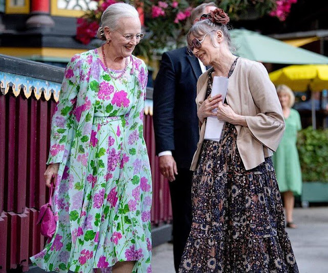 Queen Margrethe wore a green floral print chiffon dress, Princess Benedikte wore a red floral patterned dress