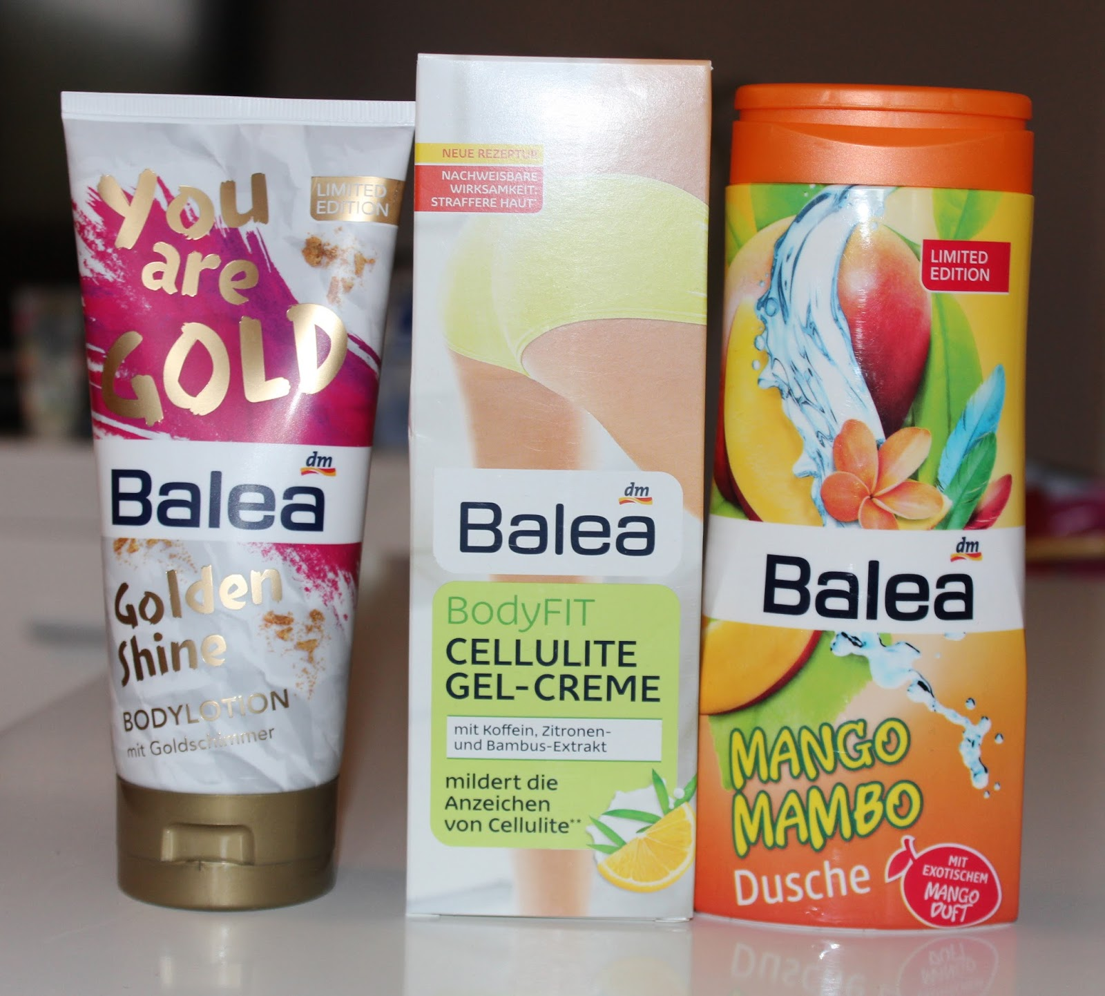 DM #6: BALEA - Golden Shine, Cellulite Gel-Creme, Mango Mambo gel za tuširanje