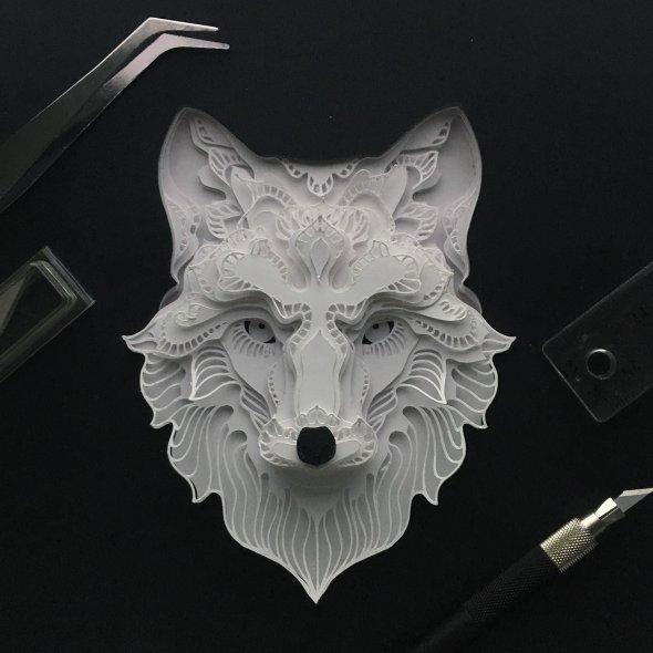 Patrick Cabral behance arte animais papel cortado espécies ameaçadas extinção wwf Lobo