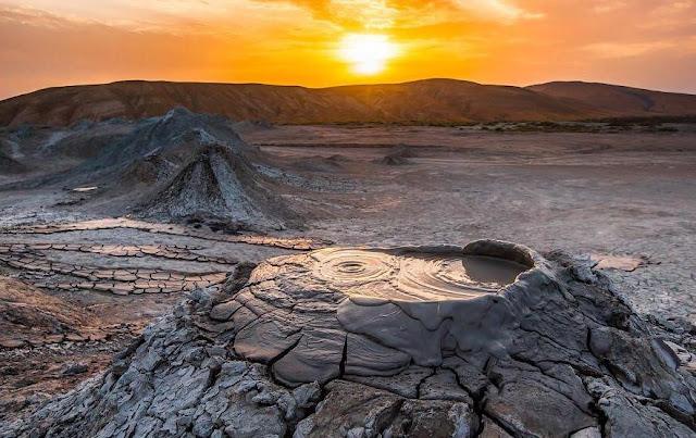 Mud volcanoes in Azerbaijan.