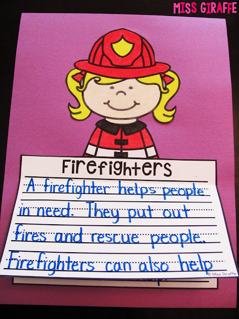 Firefighters writing paper that all you do is print and kids can write about firefighters and color and cut out their picture to make an adorable fire safety craft