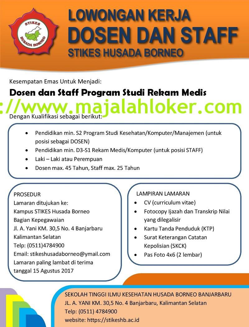 Lowongan Kerja Dosen dan Staff Stikes Husada Borneo
