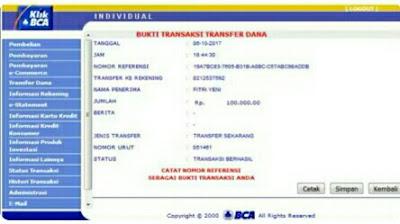 cara cetak ulang bukti transfer bca lewat internet banking