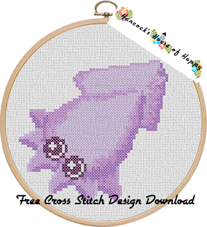 kawaii squid cross stitch design free to download
