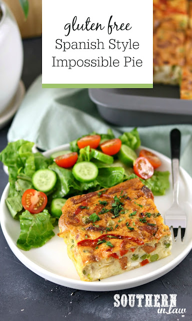 Easy Gluten Free Spanish Impossible Pie Recipe with Chorizo, Feta, Red Capsicum, Onions and Peas - Healthy Meal Prep Recipes and Lunch Ideas