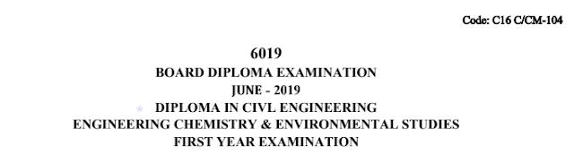 Diploma Previous Question Paper c16 civil 104 Chemistry June 2019