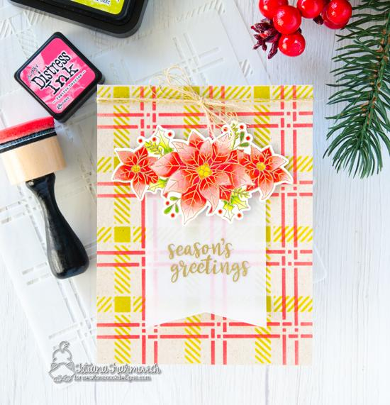 Poinsettia Card by Tatiana Trafimovich | Poinsettia Blooms Stamp Set and Plaid Stencil Set by Newton's Nook Designs #newtonsnook #handmade
