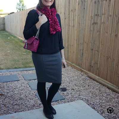 awayfromtheblue Instagram | how to wear pink ribbon scarf pop of colour with monochrome blouse pencil skirt office outfit