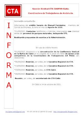 C.T.A. INFORMA CRÉDITO HORARIO MANUEL FERNANDEZ, SEPTIEMBRE 2021