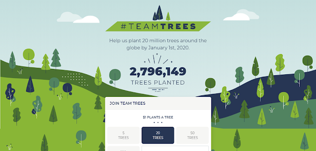 #teamtrees kurang dari 24 jam, 2,7juta dollar