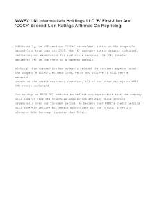 WWEX UNI Intermediate Holdings LLC Rating