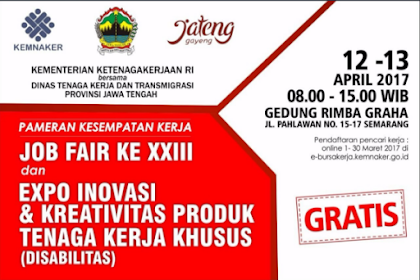 Bursa Kerja Daerah 2017 diselenggarakan oleh Dinas Tenaga Kerja & Transmigrasi - Provinsi Jawa Tengah