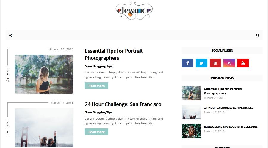 Elegance Minimal Blogger Template