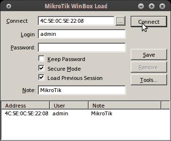 """Masukkan Username admin Passwork kosongkan lalu klik """"Connect"""""""