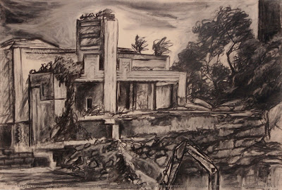 Plein air charcoal drawing of the demolition of the Walter Burley Griffin Incinerator in Pyrmont  by industrial heritage artist Jane Bennett