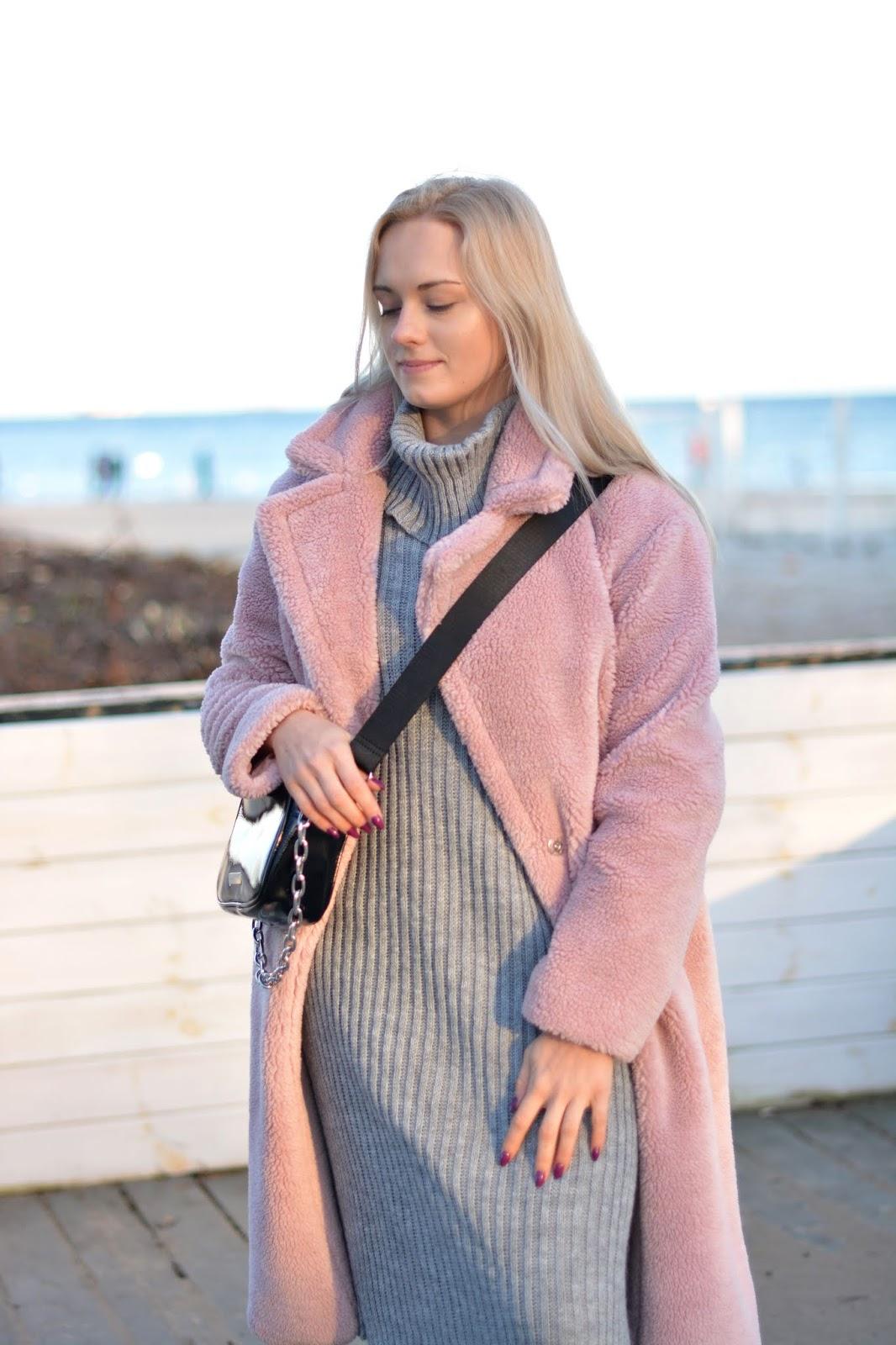Grey High Neck Knitted Side Split Jumper Dress