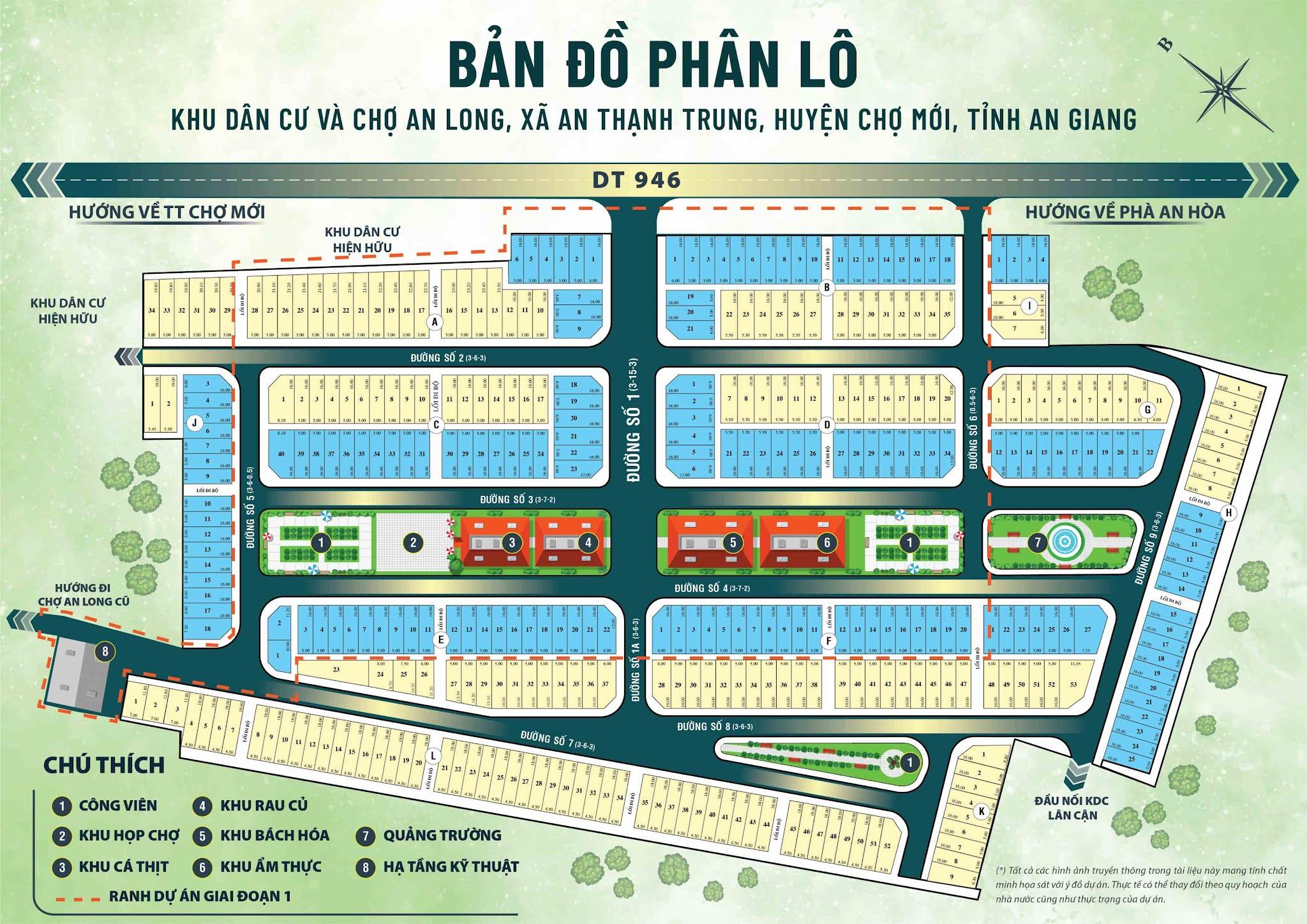 Bản đồ tổng thể mặt bằng phân lô Khu dân cư và chợ An Long