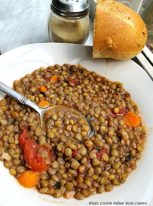 these are lentils that are green in a soup bowl