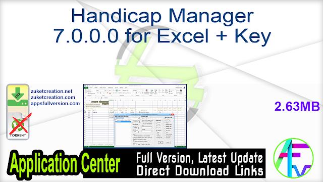 Handicap Manager 7.0.0.0 for Excel + Key