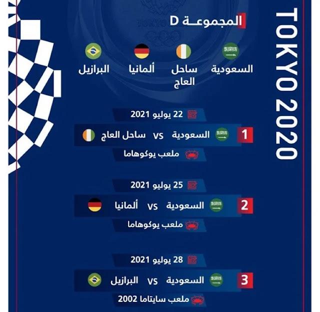 موعد مباريات السعودية فى أولمبياد طوكيو 2021