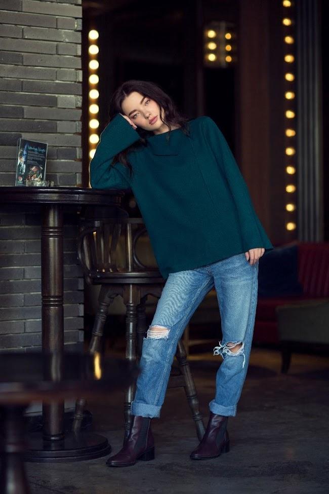 ideas women's winter wear teal colour cowl-neck sweaters 2020