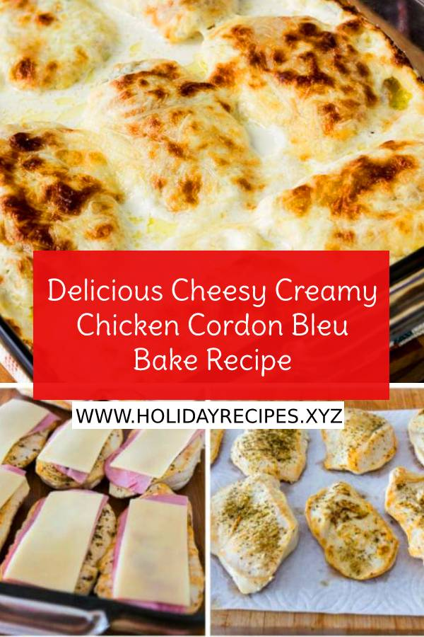Delicious Cheesy Creamy Chicken Cordon Bleu Bake is so delicious that you definitely won't miss the breaded coating that's usually found on Chicken Cordon Bleu. And this recipe is also Keto, low carb, low-glycemic, and gluten-free! #cheesy #creamy #chickencordonbleu #cordonbleu #bake #bakedchicken #easydinnerrecipe #bestdinnerrecipe #bestchickenrecipe #maindish #dish #keto #Lowcarb #glutenfree #lowglycemic