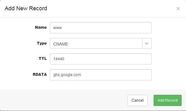 masukkan cname google