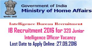 Intelligence Bureau – 320 Junior Intelligence Officer Vacancies