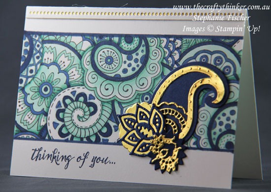 Masculine card, #cardmaking, #stampinup, #alcoholmarkers, Hello Color, Paisley Framelits, Stampin' Blends, Alcohol Markers, Stampin' Up Australia Demonstrator, Stephanie Fischer, Sydney NSW