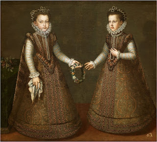 Infantas Isabel Clara Eugenia and Catalina Micaela by Coello, a copy painting of the Arnolfini Portrait, created in 1575