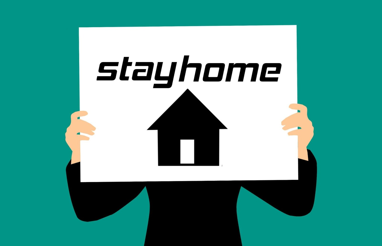 Illustration of Stay at home sign