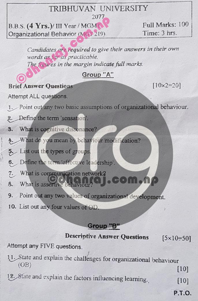 Organizational-Behavior-Mgt219-Question-Paper-2077-2021-BBS-Third-Year-Download-PDF