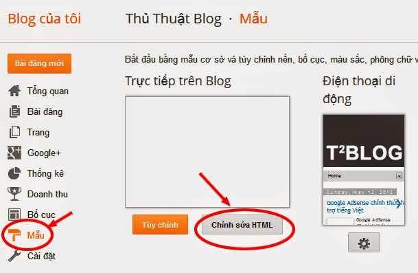 Mẫu - Chỉnh sửa HTML