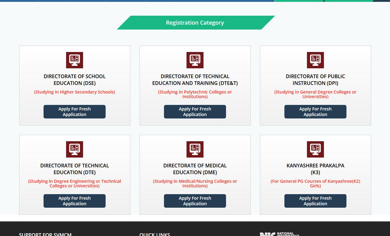 SVMCM swami vivekananda scholarship online application