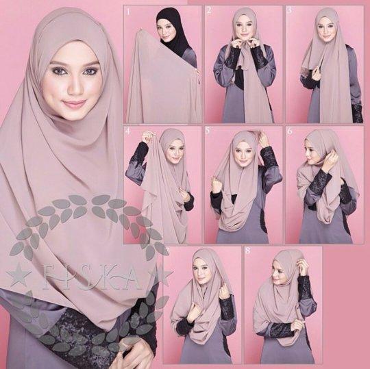 Cara pakai shawl untuk muka bulat