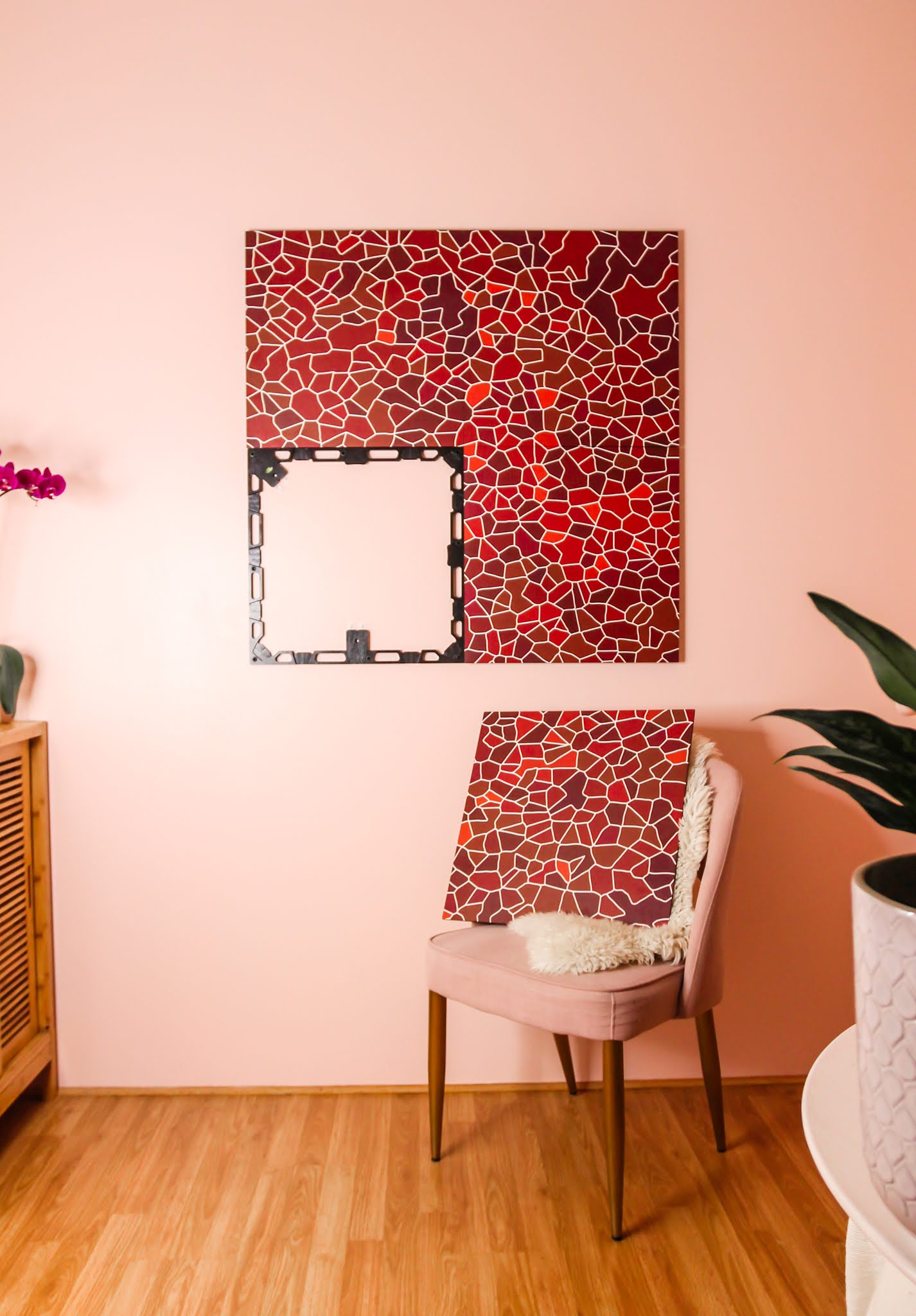 space kit modular wall decor // spacekit // wall decor // spacekit wall decor review // spacekit step by step process // spacekit mosaic design // red and pink room // wall decor inspo // small space living // small spaces inspo // pink room inspo //sustainable wall decor // sustainable home decor