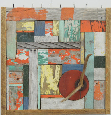 wood assemblage, wood collage, found materials,