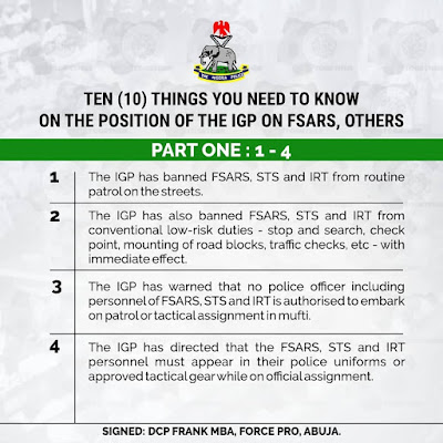 10 Things You Need To Know About FSARS Ban - Nigerian Police