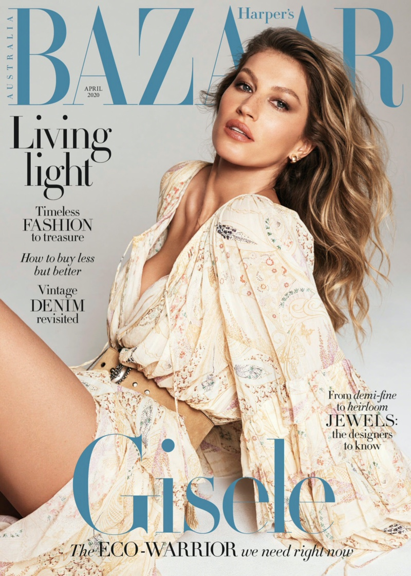 Gisele is boho chic for Harper's Bazaar Australia April 2020