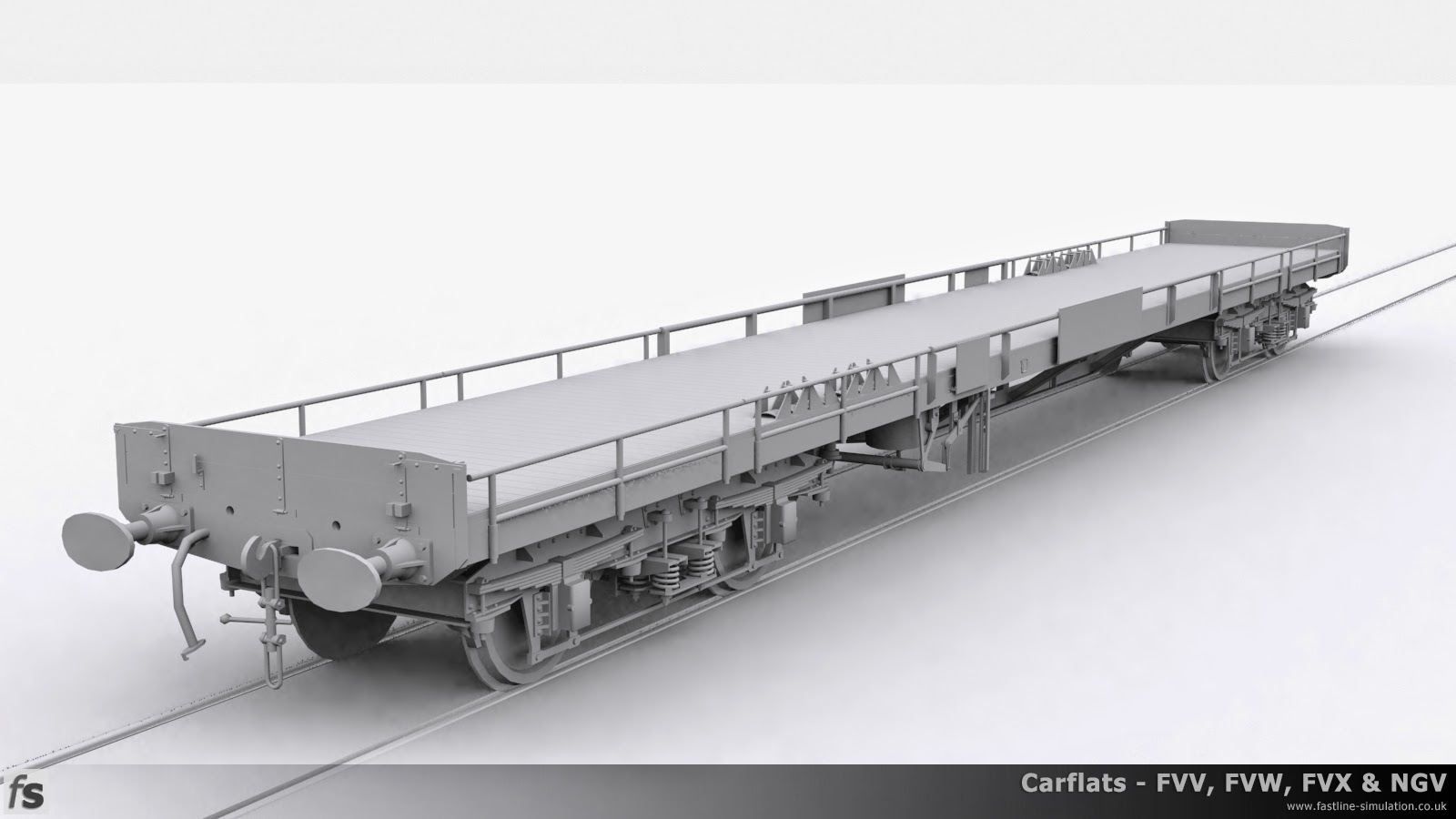 Fastline Simulation - Carflats: This configuration is possibly the most intriguing as it appears to be a conversion from other diagrams and has gained taller than usual split side rails, in this case the original was from dia. 1/131 and is vacuum braked. Wheel chocks for vehicles can be seen on the deck of the wagon.