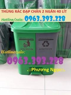 Thùng rác 2 ngăn 40L đạp chân, thùng rác nhựa HDPE 40 Lít Img_1920x_5d09e3d304589