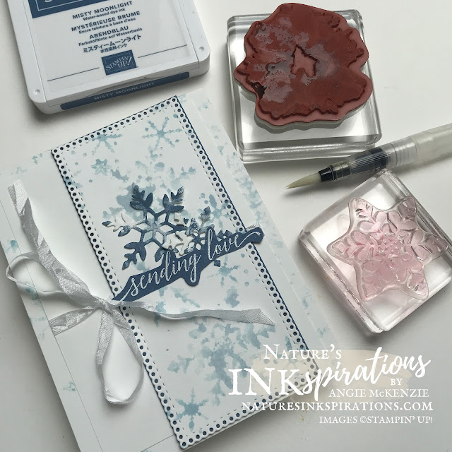 Watercoloring Kissing Technique with a previously inked stamp, a Water Painter and a photopolymer stamp!  Artistically Inked and Snowflake Wishes are the amazing stamps used here.  |  Nature's INKspirations by Angie McKenzie