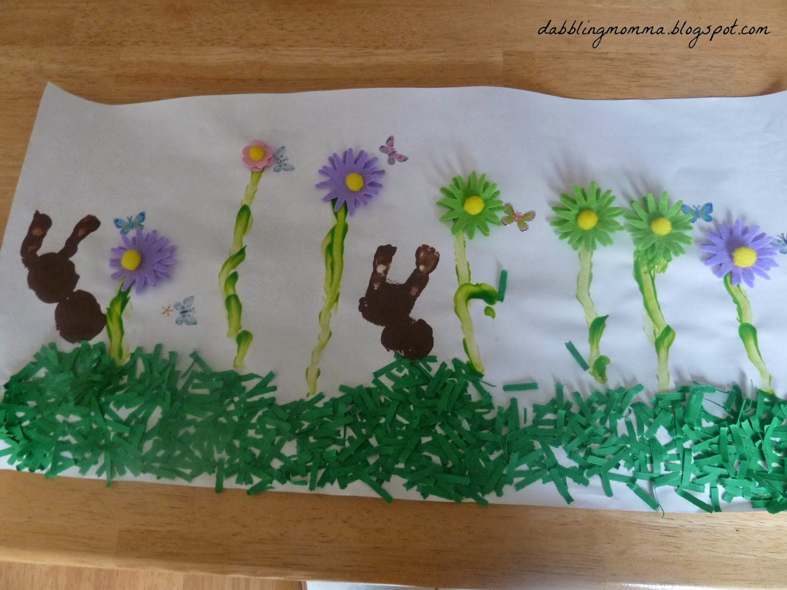 Spring Art with 3D flowers and grass