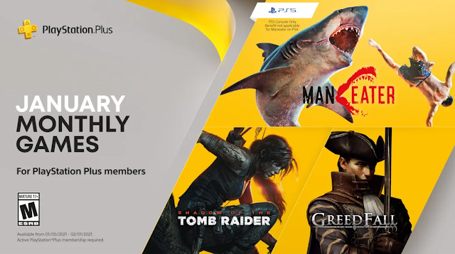January PlayStation Plus Games for PlayStation 4 and PlayStation 5 - Maneater, Shadow of the Tomb Raider, and Greedfall | TechNeg