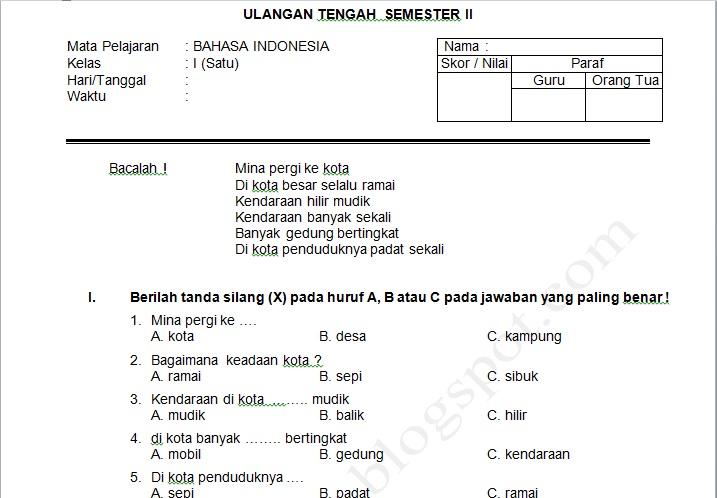 Soal Uts Bahasa Indonesia Kelas 1 Semester Ii Soal Jawaban