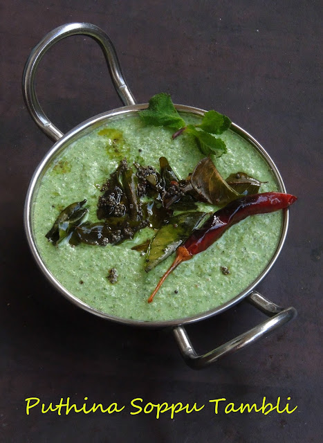 Mint leaves tambli, Mint Sour curry
