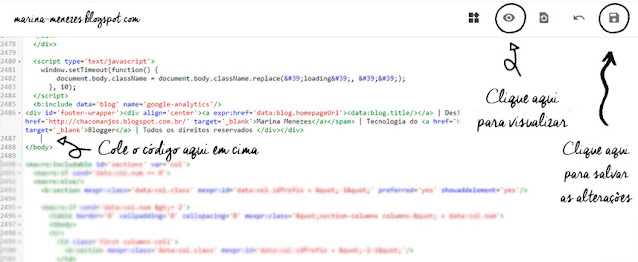 A imagem mostra um printscreen da imagem do HTML do blog, mostrando onde colar o código, visualizar o template e salvar as alterações